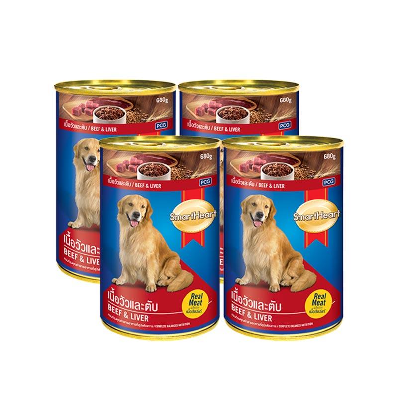 สมาร์ทฮาร์ท อาหารสุนัขกระป๋อง รสเนื้อวัวและตับ 400 กรัม X 4 กระป๋อง