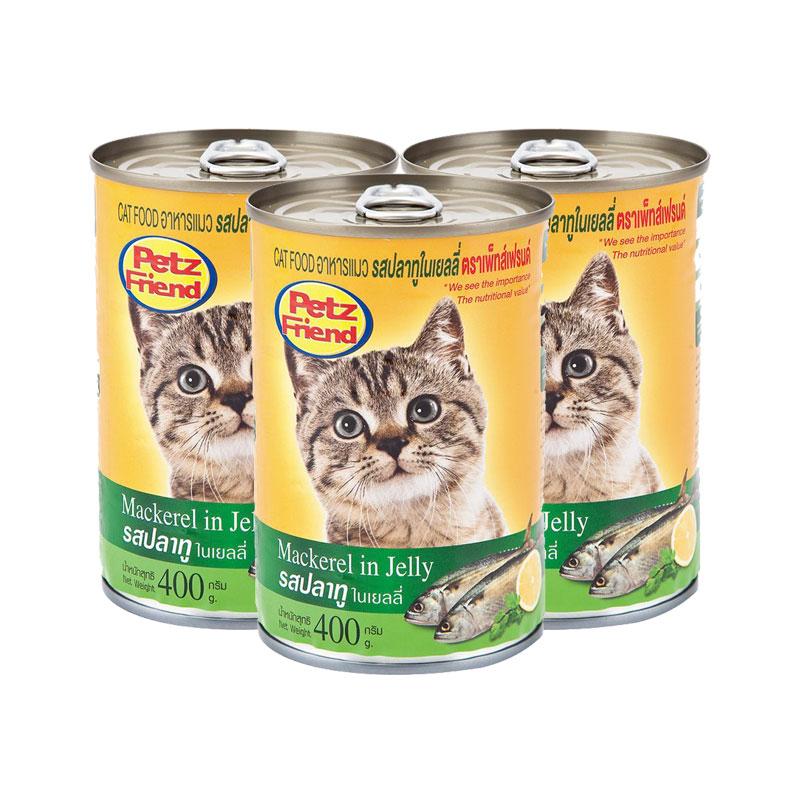 เพ็ทส์เฟรนด์ อาหารแมว รสปลาทูในเยลลี่ 400ก.X3