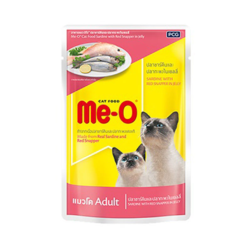 มีโอ อาหารแมว ชนิดซอง รสซาร์ดีน+ปลากระพง 80 กรัม X 12 ชิ้น