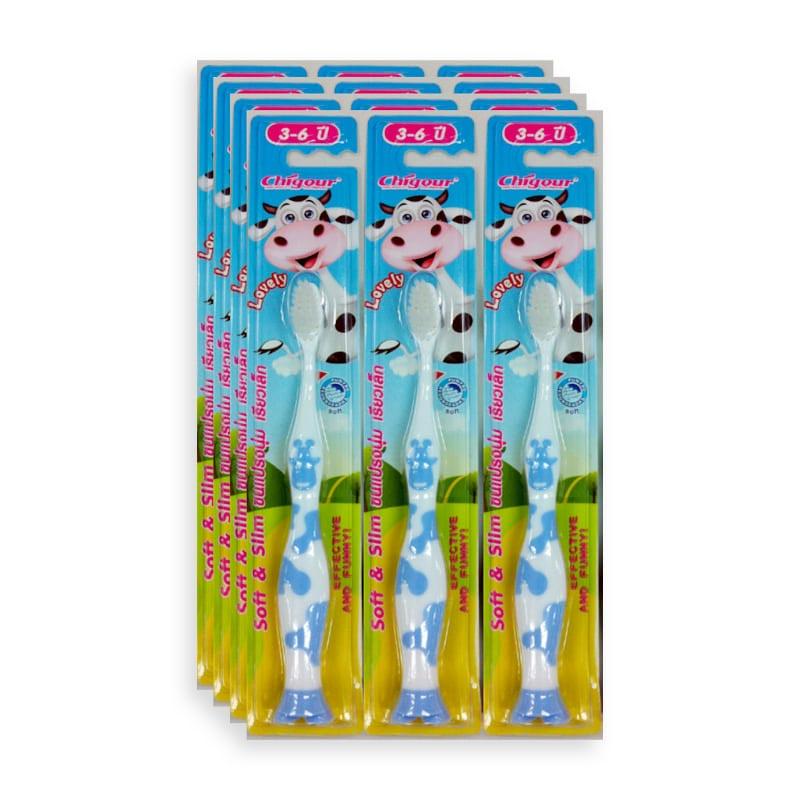 แปรงสีฟันเด็ก CHIGOUR รุ่นขนแปรงเรียว แพ็ค 12 ด้าม
