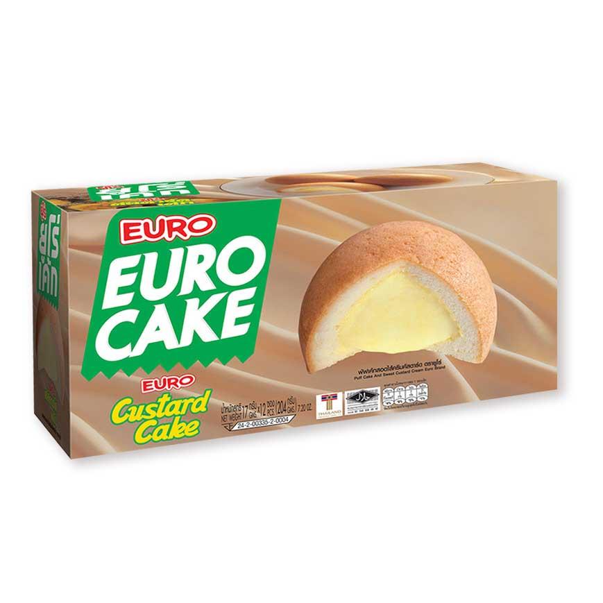 ยูโร่ คัสตาร์ดเค้ก 17 กรัม แพ็ค 12 ชิ้น