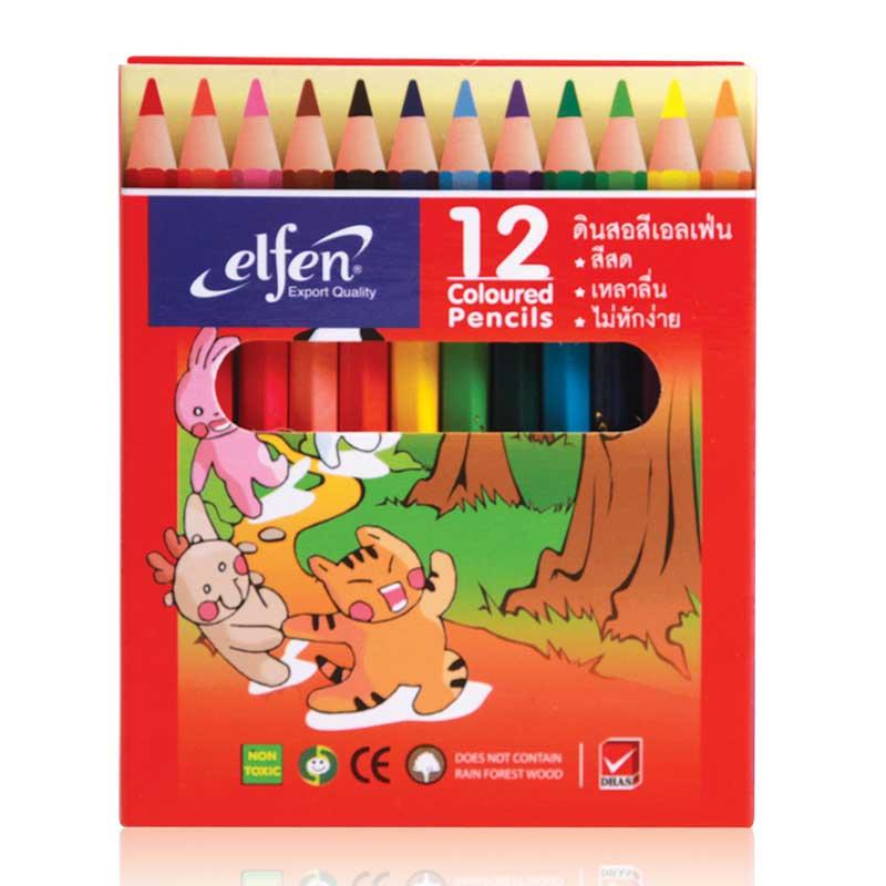 เอลเฟ่น สีไม้ 12 สี แท่งสั้น แพ็ค 6 กล่อง