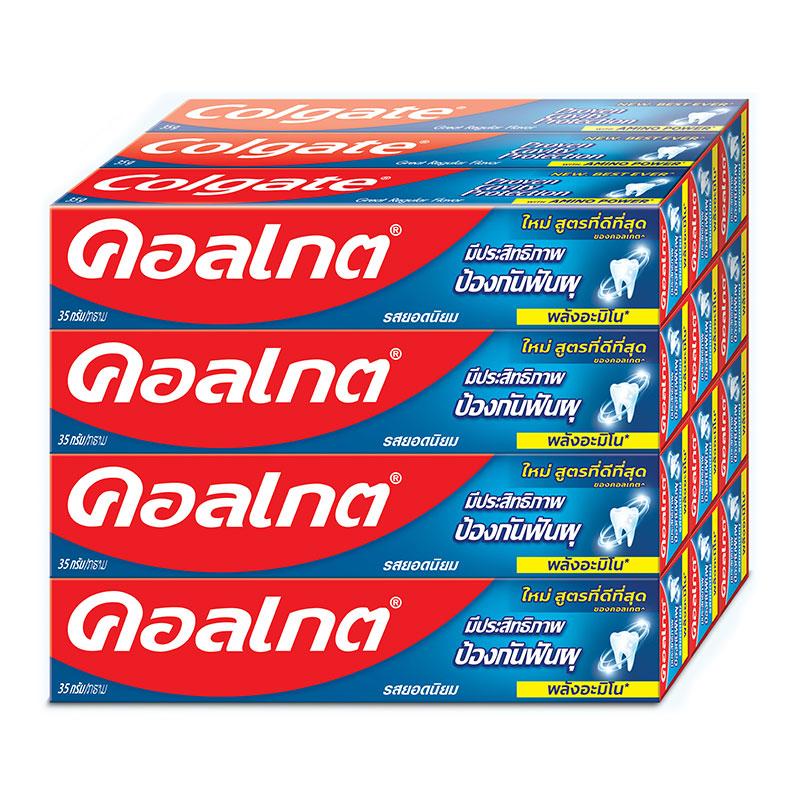 คอลเกต ยาสีฟันแคลเซียมรสยอดนิยม สูตรพลังอะมิโน ขนาด 35 กรัม x 12 กล่อง