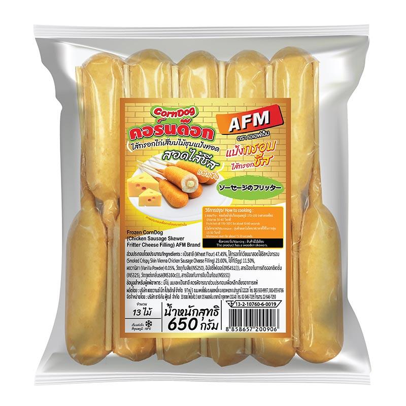 AFM Frozen Corn Dog Chicken Sausage Skewer Fritter Cheese Filling 650g | Makroclick
